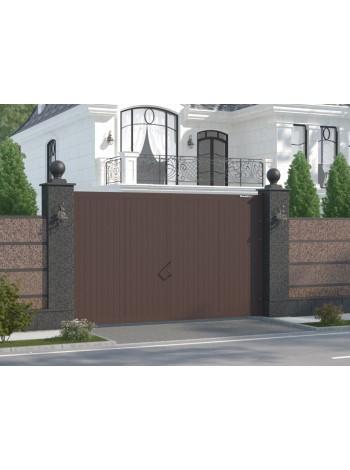 Распашные уличные ворота SWG-A в алюминиевой раме с заполнением сендвич-панелями